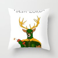 superheroes Throw Pillows featuring superheroes sf by Jesse Robinson Williams