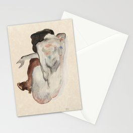 Crouching Nude, Back View - Egon Schiele Stationery Cards