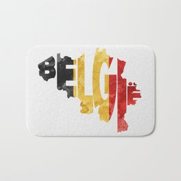 Belgium (België) Typographic World Map / Belgium Typograpy Flag Map Art Bath Mat