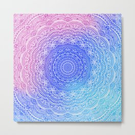 Beautiful colorful rainbow mandala Sophisticated ornament pink and violet cyan Metal Print