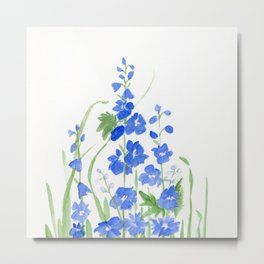 Blue Larkspur Watercolor Garden Flower Delicate Painting Metal Print