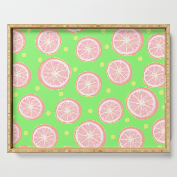 Pink Grapefruit and Dots - Green Serving Tray