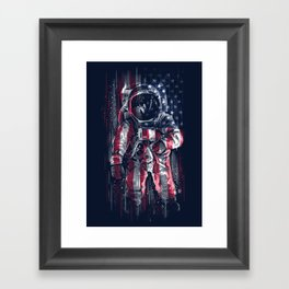 Astronaut Flag Framed Art Print