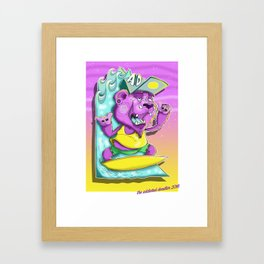 Surfing Bear Framed Art Print
