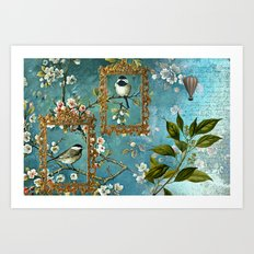 Blue, Birds, Balloon and Botanics Art Print