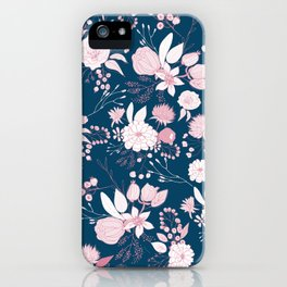 Elegant mauve pink white navy blue rustic floral iPhone Case