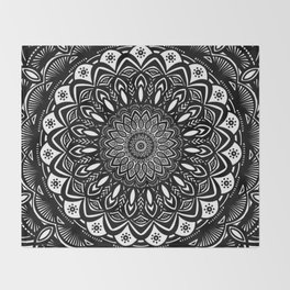 Bold Mandala Black and White Simple Minimal Minimalistic Throw Blanket