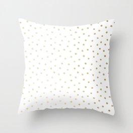 Delicate Gold Polka Dots Throw Pillow
