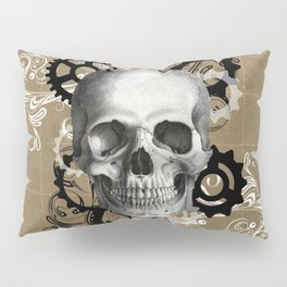 Skull With Gears and Floral Ornaments Pillow Sham