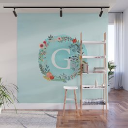 Personalized Monogram Initial Letter G Blue Watercolor Flower Wreath Artwork Wall Mural