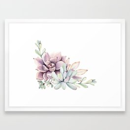 Desert Succulents on White Framed Art Print
