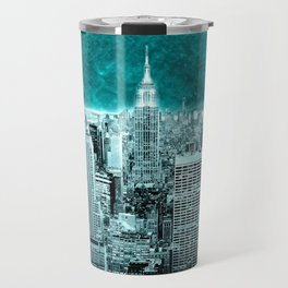 New New York Another World Aqua Teal Travel Mug