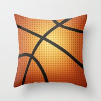 basketball Throw Pillows featuring Basketball by Debra Ulrich