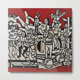 Grand Parade With Red Background Mosaic portrait by Fernand Léger Metal Print
