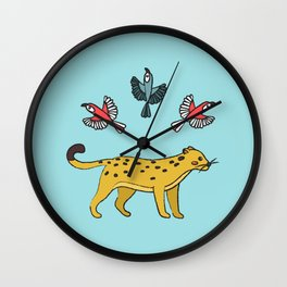 Leopard and Parrot Pals Wall Clock