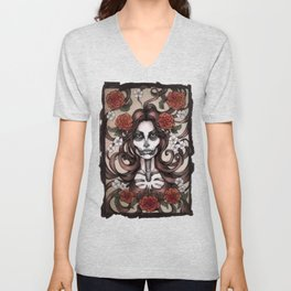 Blossoming Day of the Dead Unisex V-Neck