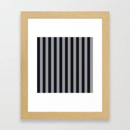 Vertical Stripes Black & Cool Gray Framed Art Print