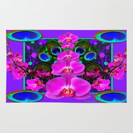 Colorful  Fuchsia-Purple-Pink Orchids Peacock Blue Eyes Art Rug