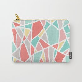 Abstract Triangle Pattern in Coral, Teal, Yellow and White Carry-All Pouch