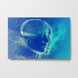 Artificial Intelligence Woman Head Binary Numbers Motherboard Electronics Components Metal Print