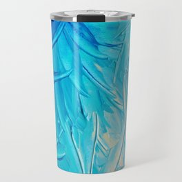 WATER FLOWERS - Beautiful Water Ocean Theme Shades Blue Floral Modern Design Abstract Painting Travel Mug