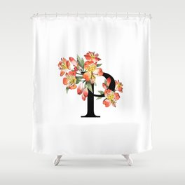 Letter 'P' Peruvian Lily Flower Monogram Typography Shower Curtain