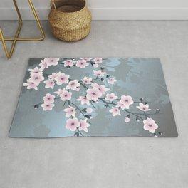 Dusky Pink Grayish Blue Cherry Blossom Rug