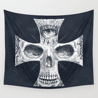 gore Wall Tapestries featuring Cross Skull 2.0 by pakowacz