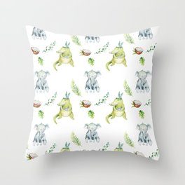 Hand drawn green gray watercolor tropical elephant crocodile pattern Throw Pillow