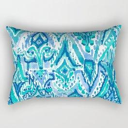 AQUA FRINGE TRIBAL Ikat Watercolor Rectangular Pillow