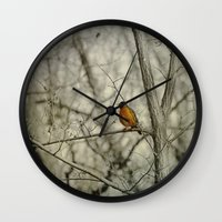 robin Wall Clocks featuring Robin by Dorothy Pinder
