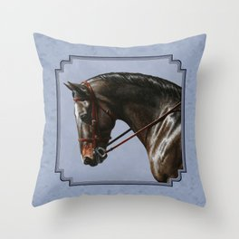 Brown Dressage Horse Throw Pillow