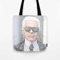 karl lagerfeld Tote Bags featuring ICONS: Karl Lagerfeld by LeeandPeoples