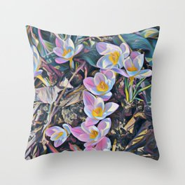 crocuses-spring is coming Throw Pillow