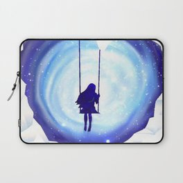 Girl Swinging in a Snow and Ice Heart Tunnel Laptop Sleeve