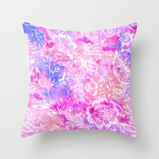 Feminine Folk Floral Throw Pillow