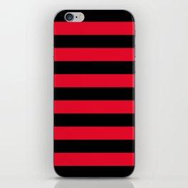 Black and Apple Red Medium Stripes iPhone Skin