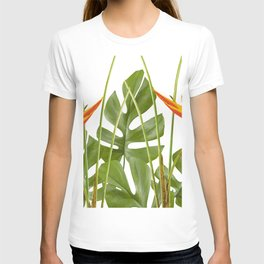 2 Exotic Flowers Helikonias and Monstera white T-shirt