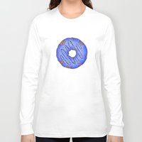 doughnut Long Sleeve T-shirts featuring Blue Doughnut by elletra