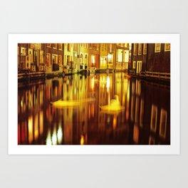 swan in amsterdam Art Print
