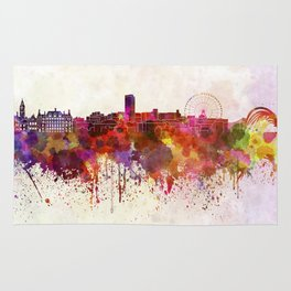 Sheffield skyline in watercolor background Rug