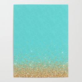 Sparkling gold glitter confetti on aqua teal damask background Poster