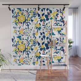 Buttercup yellow, salmon pink, and navy blue flowers on white background pattern Wall Mural