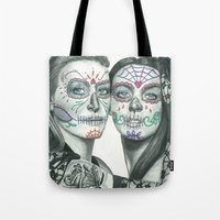 lindsay lohan Tote Bags featuring Meryl Streep and Lindsay Lohan  by Jimmy Lee