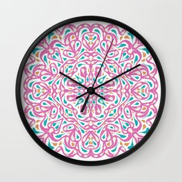Pink and Blue Symmetrical Mandala Flower - Geometric Abstract Decorative Floral Art - Boho Free Spirit Wall Clock