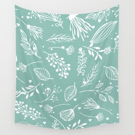 Mint floral Wall Tapestry