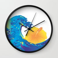 hokusai Wall Clocks featuring Hokusai Rainbow & Hibiscus_Y  by FACTORIE