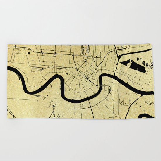 New Orleans Black and Gold Map Beach Towel