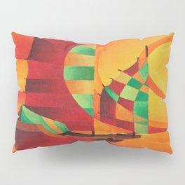 Cubist Junks on A Red Sea Pillow Sham