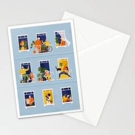 People on balconies Stationery Cards
